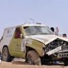 إنقلاب سيارة متسابق في الجولة الاستعراضية من رالي حائل