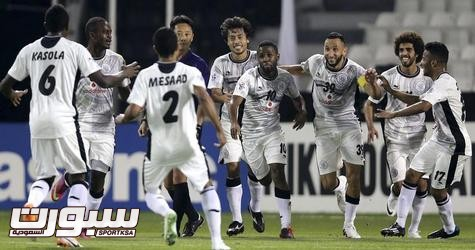 Al-Sadd players celebrate a goal against Foolad Mobarakeh Sepahan during their AFC Championship League soccer match in Doha