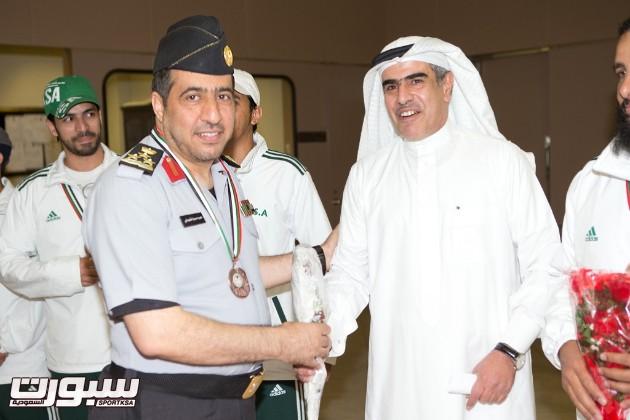 العميد دعيرم الشهراني اثناء استقبال رئيس البعثة العميد مهندس رياض الرشيد