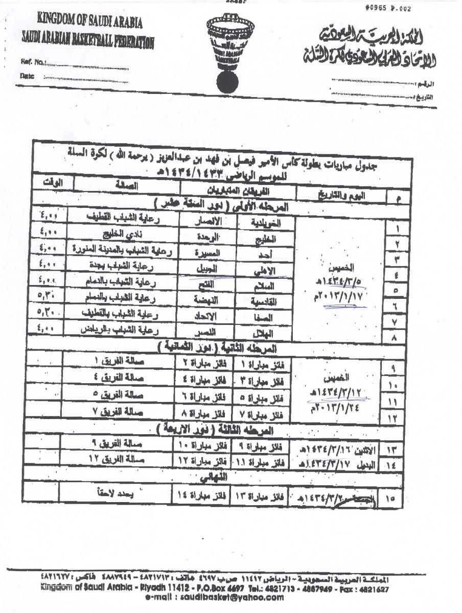 جدول بطولة كأس الأمير فيصل بن فهد لكرة السلة