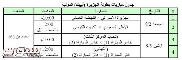 جدول مباريات بطولة الجزيرة (آيبيك) الدولية