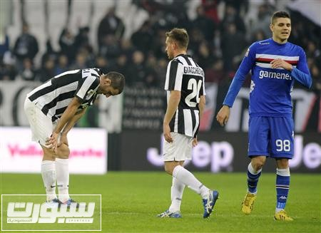 Sampdoria's Icardi reacts at the end of the match against Juventus during his Italian Serie A soccer match at the Juventus stadium in Turin