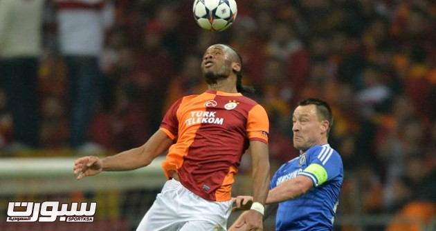 Galatasaray's Didier Drogba and Chelsea's John Terry