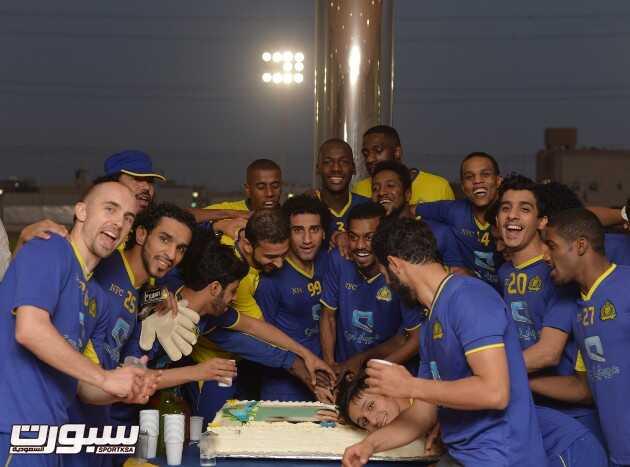 النصر يواصل تدريباتة اليومية على فترتين واحتفالية بإنتهاء ايقاف أحمد عباس