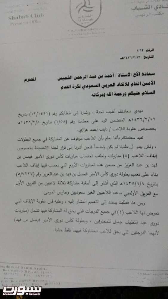 بيان من نادي الشباب بشأن ايقاف اللاعب نايف هزازي