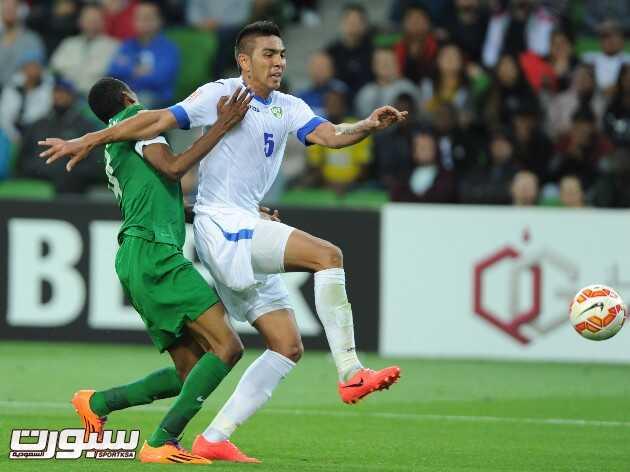 صور مباراة السعودية و أوزباكستان