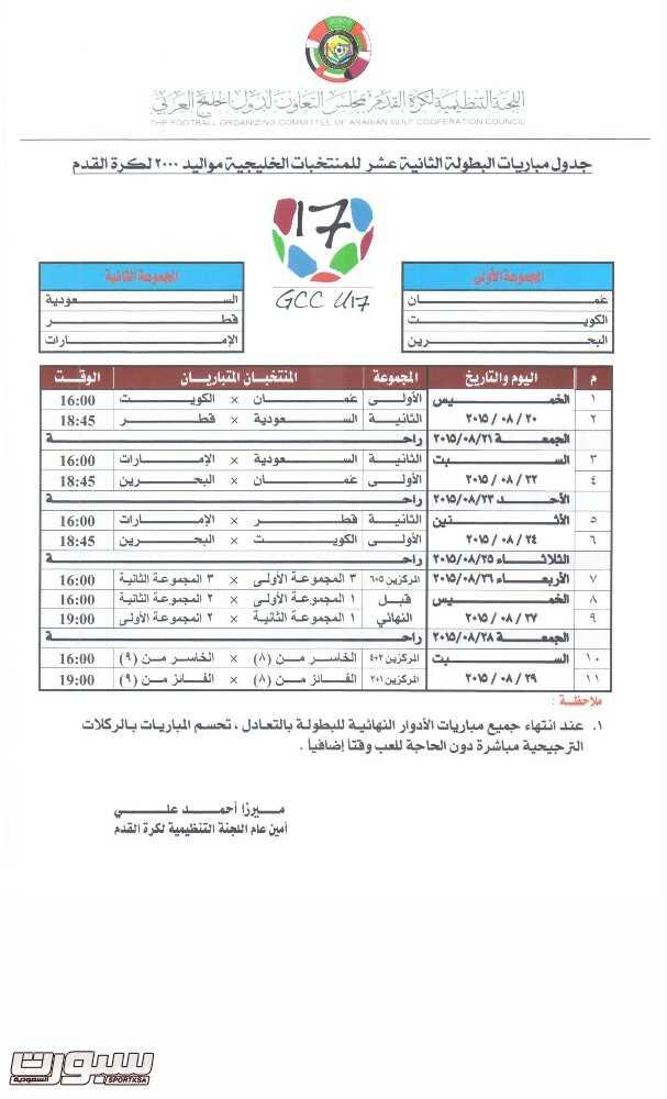 جدول البطولة