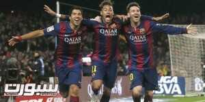 (L-R) Barcelona's Luis Suarez, Neymar and Lionel Messi celebrate a goal against Atletico Madrid during their Spanish First Division soccer match at Camp Nou stadium in Barcelona January 11, 2015. REUTERS/Albert Gea (SPAIN - Tags: SPORT SOCCER)
