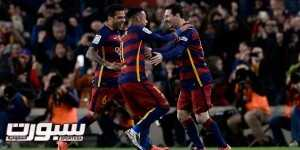 Barcelona's Argentinian forward Lionel Messi (R) is congratulated for his goal by teammates Barcelona's Brazilian defender Dani Alves (L) and Barcelona's Brazilian forward Neymar during the Spanish league football match FC Barcelona vs RC Celta de Vigo at the Camp Nou stadium in Barcelona on February 14, 2016.  / AFP / JOSEP LAGO        (Photo credit should read JOSEP LAGO/AFP/Getty Images)