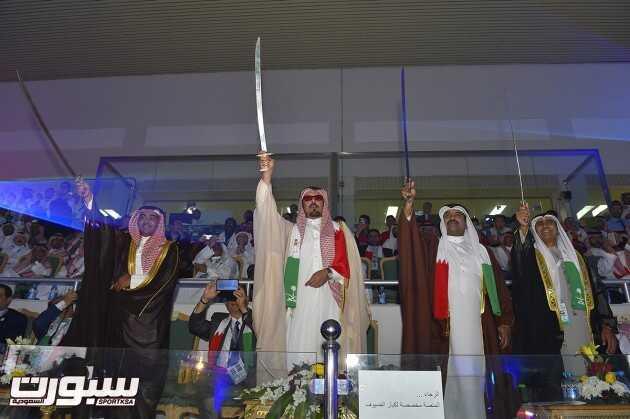 الأمير حمود بن سعود والشيخ ابراهيم بن سلمان والبكر خلال العرضة السعودية