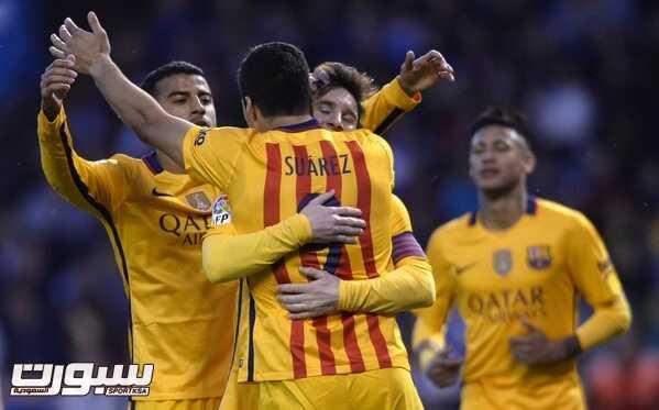 فرحة فريق برشلونة