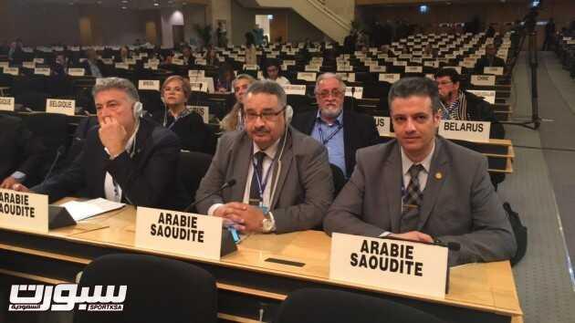 وفد العمال السعودي خلال اللقاء علي هامش أعمال مؤتمر العمل الدولي