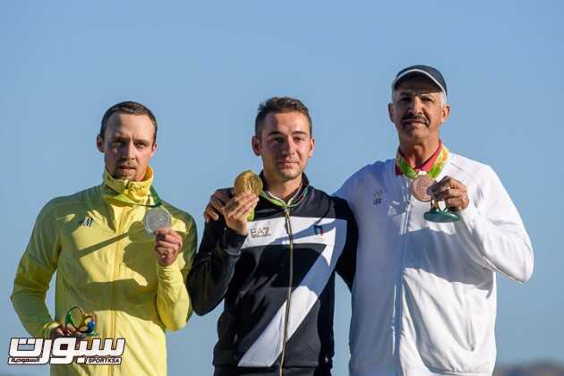 RIO DE JANEIRO - AUGUST 13: (L-R) Silver medalist Marcus SVENSSON of Sweden, Gold medalist Gabriele ROSSETTI of Italy and Bronze medalist Abdullah ALRASHIDI Independent Olympic Athlet pose with their medals after the Skeet Men Finals at the Olympic Shooting Center during Day 8 of the XXXI Olympic Games on August 13, 2016 in Rio de Janeiro, Brazil. (Photo by Nicolo Zangirolami)