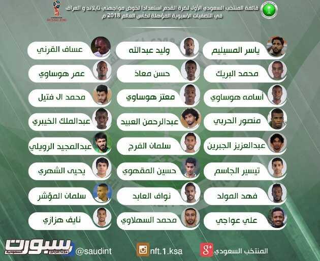 تشكيلة المنتخب السعودي لمواجهتي تايلاند و العراقي