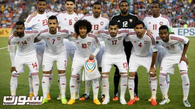 UAE players pose for a team photo before the Asian Cup third-place playoff soccer match against Iraq at the Newcastle Stadium in Newcastle January 30, 2015. Front Row L to R: Abdelaziz Sanqour, Ali Mabkhout, Omar Abdulrahman, Majed Hassan, Habib Fardan and Abdulaziz Haikal. Back Row L to R: Mohamed Ahmad Gharib, Mohanad Salem, Khamis Esmaeel, goalkeeper Khalid Eisa and Ahmed Khalil. REUTERS/Edgar Su (AUSTRALIA - Tags: SOCCER SPORT) - RTR4NL4B
